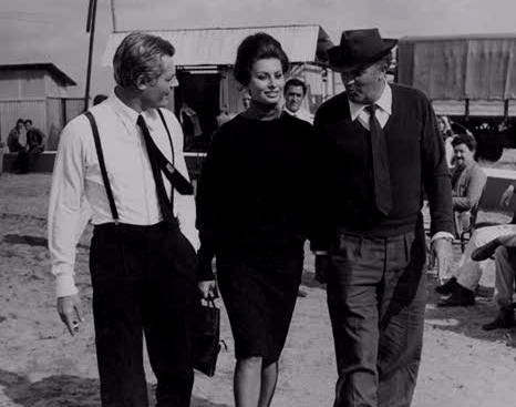 Sophia Loren on the set of 8 1/2.  Fellini and Marcello by her side.